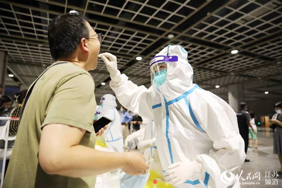 南京国际博览中心核酸检测点。玄武区委宣传部供图